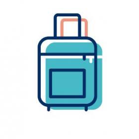 En tecknad blå resväska.
